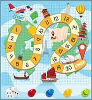 Un modèle de jeu de société de voyage mondial vecteur