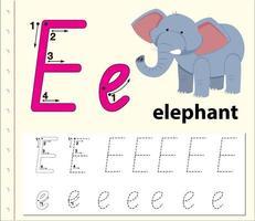 Feuilles de calcul de l'alphabet traçant la lettre E vecteur