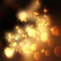 Étoiles d'or et fond de lumières bokeh vecteur
