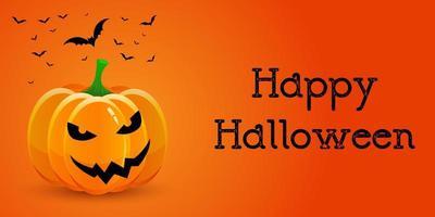 Bannière d'Halloween avec citrouille et chauves-souris