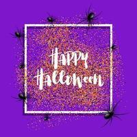 Fond d'Halloween avec des araignées sur cadre blanc vecteur
