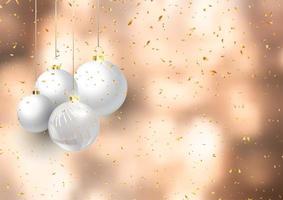 Boules de Noël sur fond de confettis