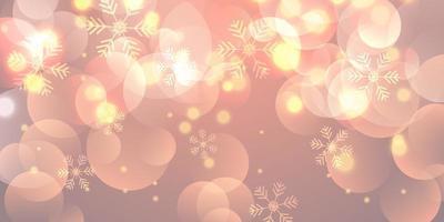 Bannière de Noël avec des flocons de neige et des lumières bokeh