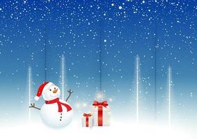 Fond de Noël avec bonhomme de neige et cadeaux