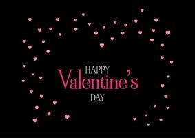 Fond sombre de la Saint-Valentin avec des coeurs roses vecteur
