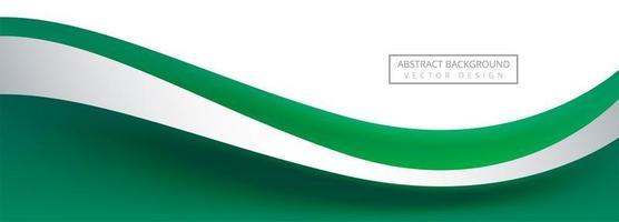 Bannière de vague horizontale verte sur fond blanc