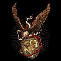 aigle avec ruban rouge et blanc et badge vecteur