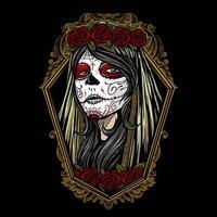 dia de los muertos fille visage peint vecteur