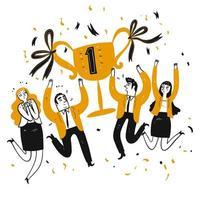Les gens d'affaires et les collègues de bureau célèbrent le prix vecteur