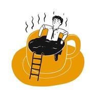 Dessin, de, homme, reposer, dans, tasse café vecteur