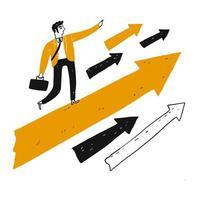 Leader avec vision se dresse sur une grande flèche orange