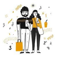 Dessin animé hipster jeune couple vecteur