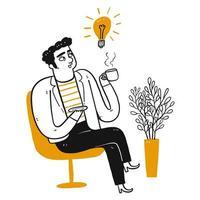 Homme de dessin animé pense et boit du café.