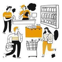 Gens de dessin animé, faire du shopping dans un supermarché vecteur