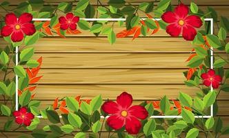 Fleur sur fond de bois vecteur