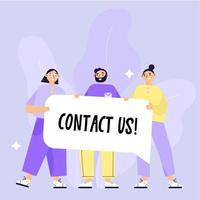 Groupe de personnes tenant une bannière avec texte Contactez-nous vecteur