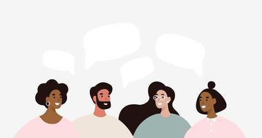 Un groupe de personnes discute de l'actualité des médias sociaux vecteur