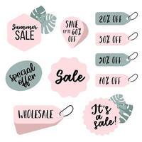 Ensemble de bannières de vente, boutons, autocollants, coupons