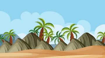Conception de fond de paysage de montagnes et de plage vecteur
