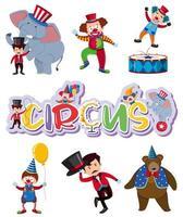 Un ensemble de personnages de cirque