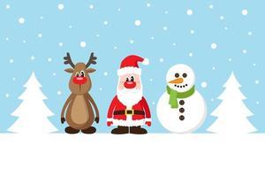 Carte de Noël avec le père Noël, le cerf et le bonhomme de neige sur la neige