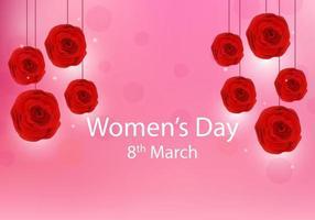 Bannière rose de la journée de la femme heureuse avec des fleurs vecteur