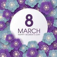 Fond de célébration de la journée des femmes florales violettes et bleues