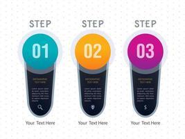 Conception de modèle d'étapes colorées infographiques