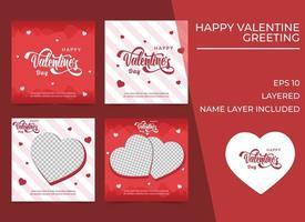 Modèle de bannières carrées de la Saint-Valentin