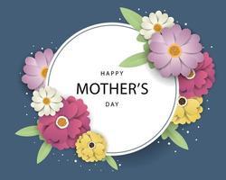 Carte de voeux de fête des mères avec cadre cercle vecteur