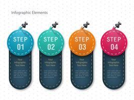 Conception de modèle d'infographie en quatre étapes vecteur