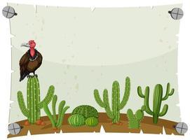 Modèle de papier avec vautour dans le jardin de cactus
