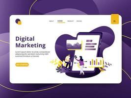 Page de destination Marketing numérique vecteur