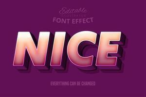 Fort effet de police 3d gras, modèle de style de texte de dessin animé vecteur