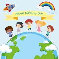 Modèle de fête des enfants heureux