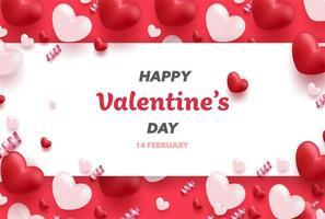 Bannière de la Saint-Valentin heureuse avec des coeurs de luxe rouges et roses