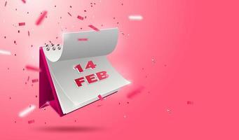 Bannière de la Saint-Valentin avec calendrier 3d ouvert vecteur