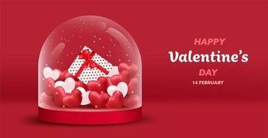 Fond de bocal en verre Happy Valentine's Day vecteur