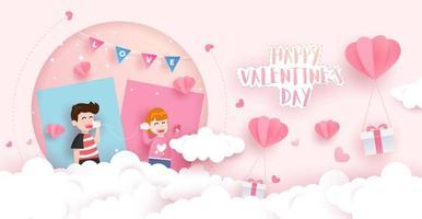 Carte de Saint Valentin heureuse dans la conception d'art papier vecteur