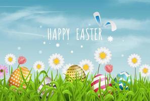 Motif de ligne d'oeufs de Pâques colorés et fleurs de printemps dans l'herbe avec beau ciel