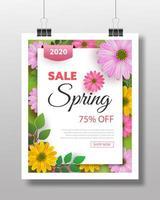 Design de fond de vente de printemps avec des fleurs colorées