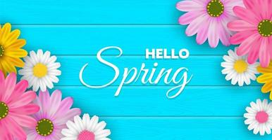 Bonjour fond de fleur de printemps vecteur