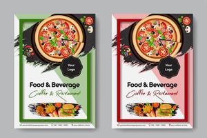 Flyer de restaurant alimentaire avec pizza vecteur