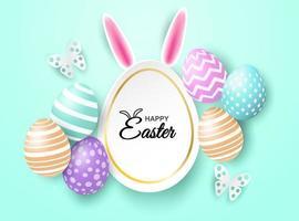 Message de célébration de Joyeuses Pâques sur fond vert menthe vecteur