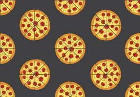 Modèle sans couture de pizza isolé sur fond noir
