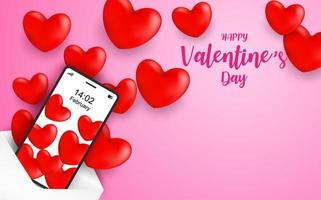 Joyeuse Saint Valentin. Envoi du concept de message d'amour vecteur