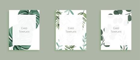 Ensemble de modèles de cartes modernes avec des feuilles sauvages en vert vecteur