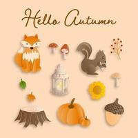 Éléments de nature mignons en saison d'automne vecteur