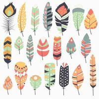 Collection de boho vintage tribal ethnique dessiné à la main des plumes colorées vecteur