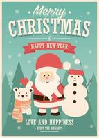Carte de Noël avec le père Noël, bonhomme de neige et rennes, paysage d'hiver